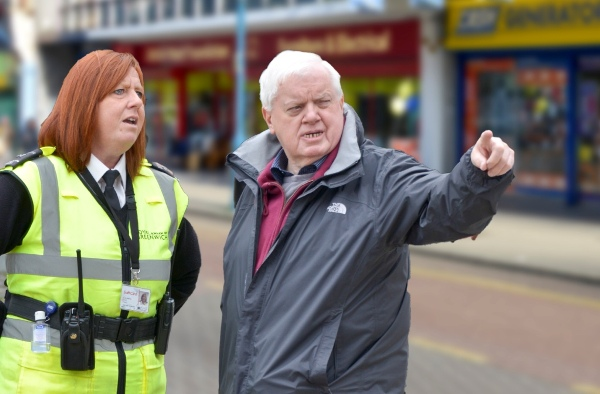 John Fahy and town centre warden, Lisa. Photo by Chris Mansfield